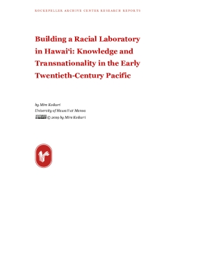 Building a Racial Laboratory in Hawai'i: Knowledge and Transnationality in the Early Twentieth-Century Pacific